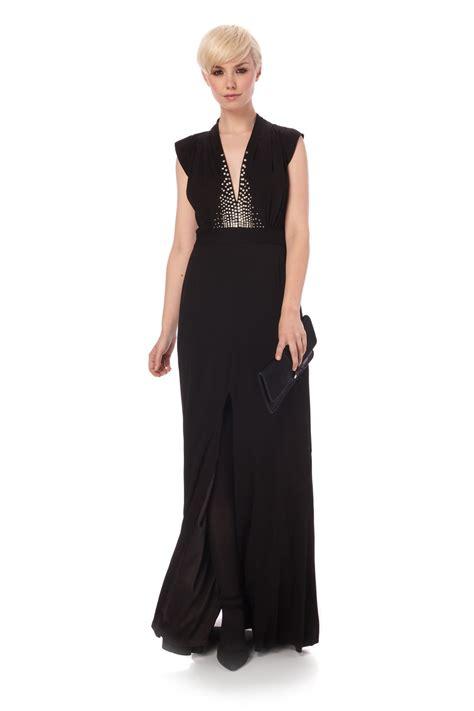 Lv New Maxi connection black diamanate bust side split maxi dress 163 220 new ebay
