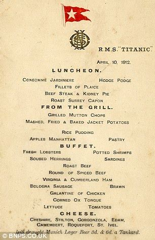 titanic first class menu most expensive menus two titanic menus set world record
