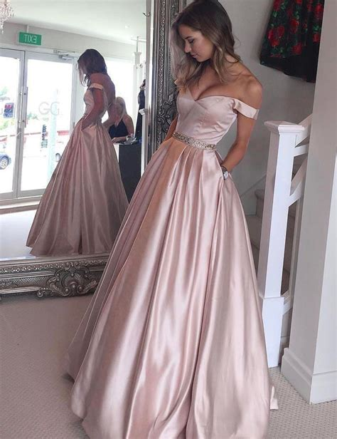 exclusive amazing plain formal wear beautiful cottan white a line off the shoulder floor length pearl pink prom dress