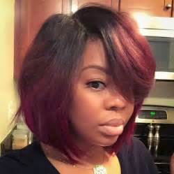 blowout hairstyles for black a line in the side fall cut and color possibly