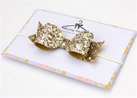 Headband Bayi Glitter Gold Bow glitter bow headband gold glittery hair bow gold headpiece gold hair band womans