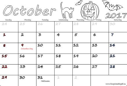 printable october 2017 calendar with holidays october 2017 free calendars for kids free printable pdf