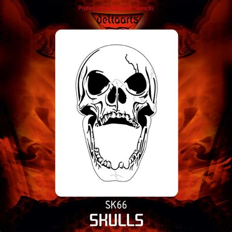 skull stencil 66 sk66 163 4 92 deltaarts professional