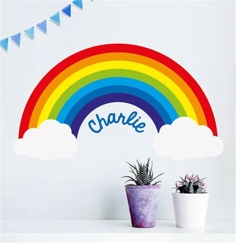 wall stickers rainbow personalised rainbow wall sticker by oakdene designs