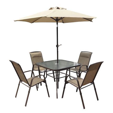 corliving 5 patio dining set with tilting umbrella