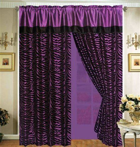 Black White And Purple Curtains 4 Pieces Faux Silk Purple With Black Zebra Window Curtain Drape Set With Sheer Backing By