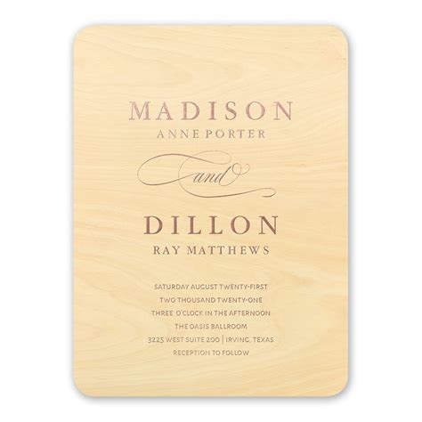 real wood wedding invitations wording elegance engrained real wood invitation with foil