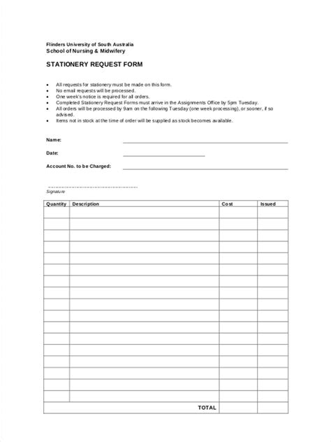Stationery Requisition Form Template
