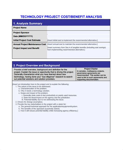 project analysis template 28 images free cost benefit