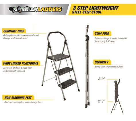 Gorilla Ladders 3 Step Lightweight Steel Step Stool Ladder by Gorilla Ladders 3 Step Lightweight Steel Step Stool Ladder
