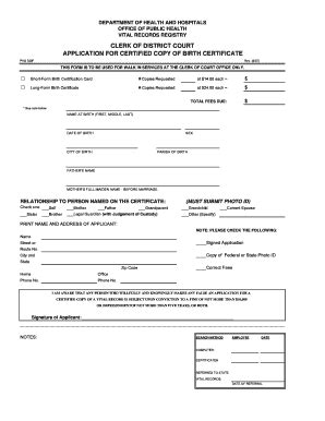 Louisiana Department Of Vital Records Birth Certificate Dhh Form For Court Fill Printable Fillable Blank Pdffiller