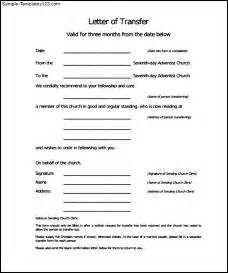 Church Letter Template by Sle Transfer Letter Of Church Membership Sle Templates