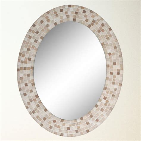 Travertine Mosaic Oval Mirror 8668 Framed Mirrors Mosaic Bathroom Mirrors