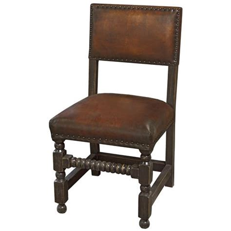 Bjerre Rustic Lodge Caramel Brown Leather Bobbin Dining Rustic Leather Dining Chairs