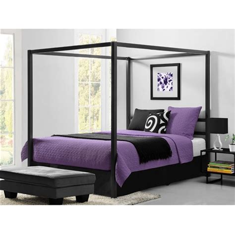 modern canopy beds queen size modern canopy bed in sturdy grey metal