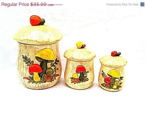 vintage copper kitchen canister set kitsch please on sale 50 off retro ceramic mushroom canisters 1970s