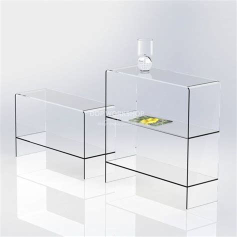 clear acrylic table with shelf furniture
