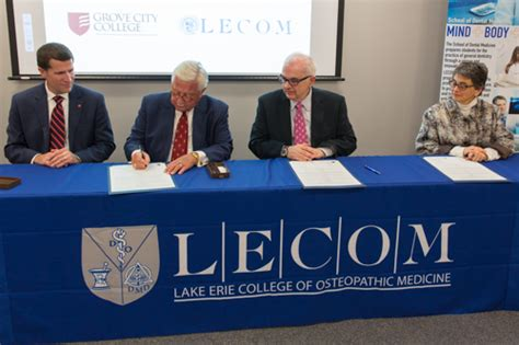 Mba Program Courses Lake Erie College by Lecom And Grove City College Continue Partnership Through