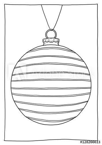 Ausmalbild Christbaumkugel gestreift – kaufen Sie diese