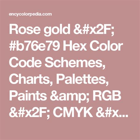 color code for gold gold b76e79 hex color code schemes charts