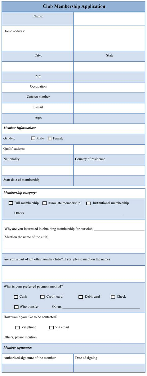 application template for club membership sle of club