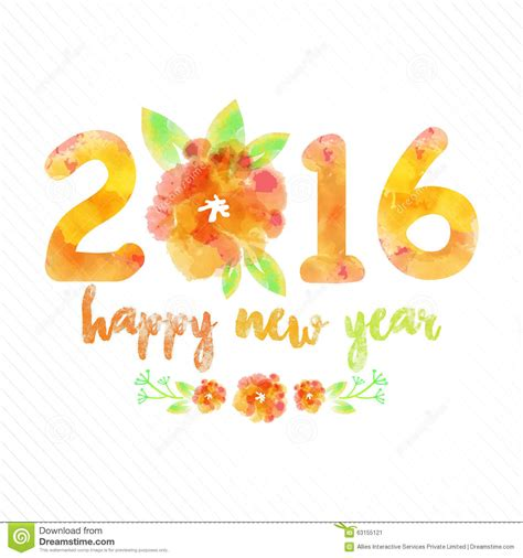 new year flower design greeting card for new year 2016 celebration stock
