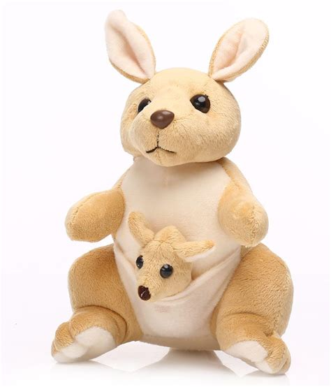 kangaroo with baby in pouch creamish brown soft toy 27 cm