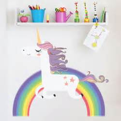 Rainbow Wall Stickers Uk unicorn wall sticker rainbow wall decal art girls bedroom nursery home