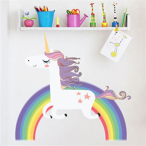 unicorn home decor unicorn wall sticker rainbow wall decal art girls bedroom