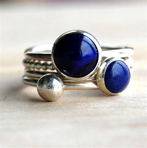 Handmade Band Rings - lapis lazuli handmade stacking rings by alison