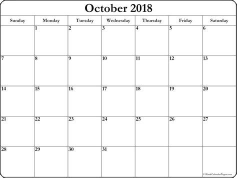 free october 2018 printable calendar blank templates calendar hour