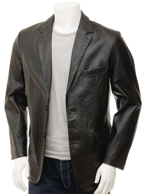 For Leather by S Leather Blazer In Black Magdeburg Caine
