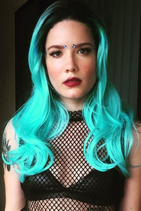halsey hot long hair halsey wavy blue dark roots uneven color hairstyle