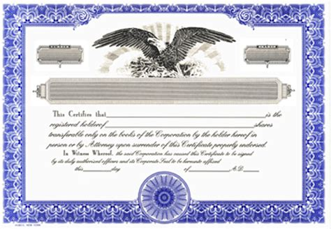 blank certificates corporation standard blue
