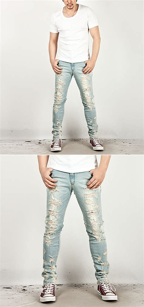 men s fashion heavy distressed super skinny ice blue jeans 5050 newstylish mens fashion pants bottoms heavy distressed