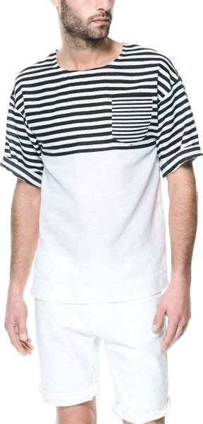 Diskon Tshirt Combi Zara zara striped combination t shirt in white for lyst