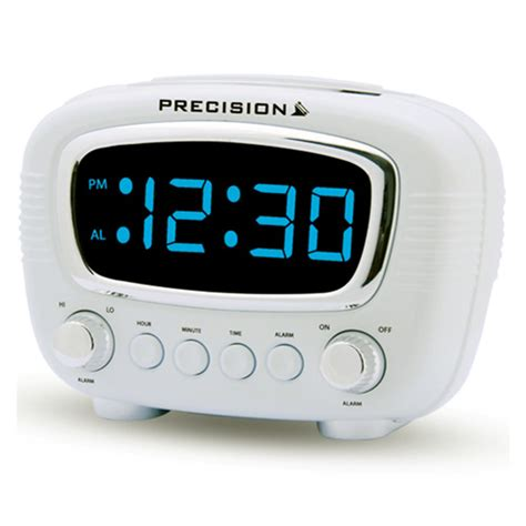 precision radio controlled retro style digital alarm clock with blue led display ebay