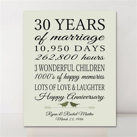 30th anniversary gift personalized gift 30 years married gift