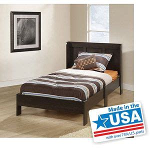 sauder parklane platform bed with headboard cinnamon