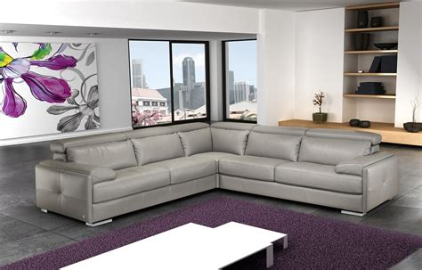 Italian Leather Sofa Sectional Grey Italian Leather Sectional With Lumbar Support Cushions Ebay
