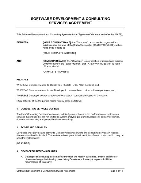 Software Development And Consulting Services Agreement Template Sle Form Biztree Com Software Developer Contract Template