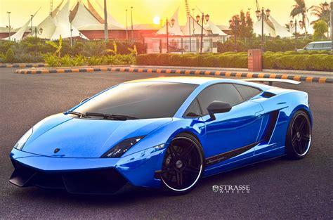 blue lamborghini cars strasse wheels blue chrome lamborghini superleggera