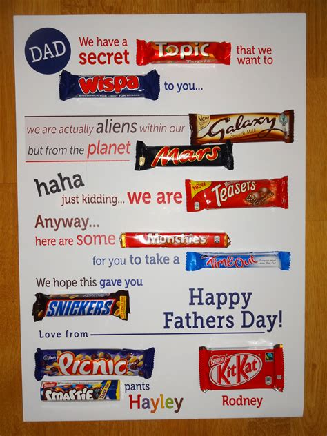 typographic chocolate bar letter fathers day gift