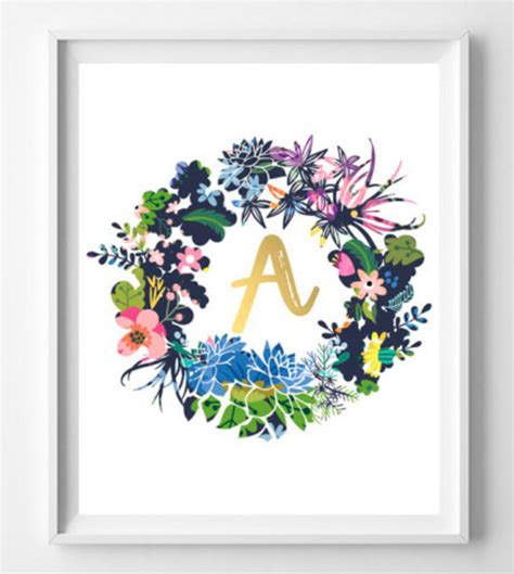 Free Printable Decorations by Initial Wreath Printables For Free Printable Decor