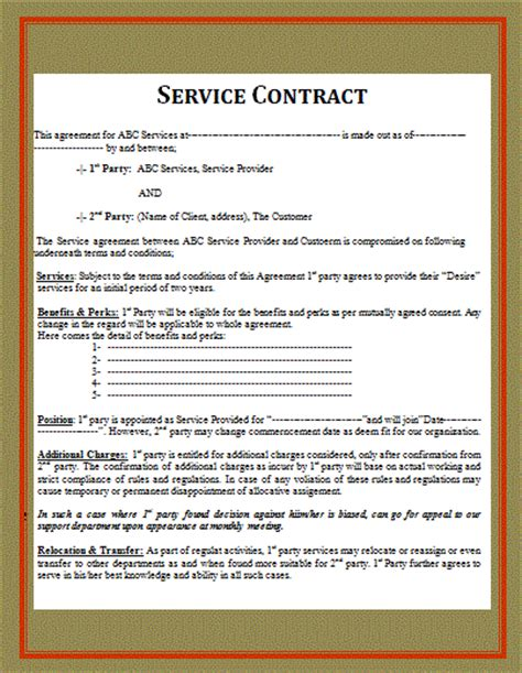 Free Service Agreement Contract Template by Contract Templates Free Word Templates