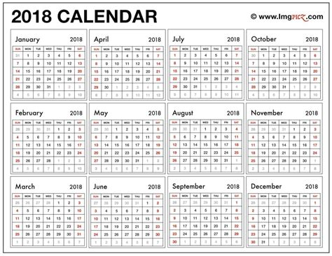 printable yearly calendar 2018 printable calendar 2018 large print printable calendar 2018