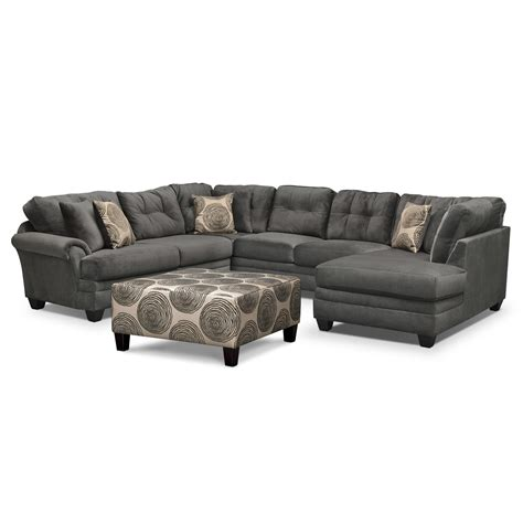 3 piece ottoman set cordelle 3 piece sectional and cocktail ottoman set gray