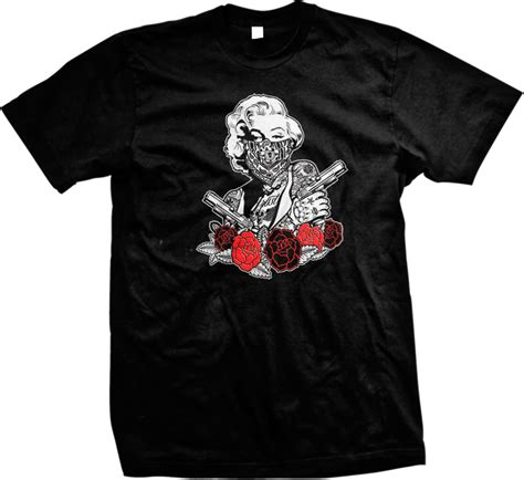 rose tattoo t shirt marilyn gangster pistols guns tattoos bandana roses mens t