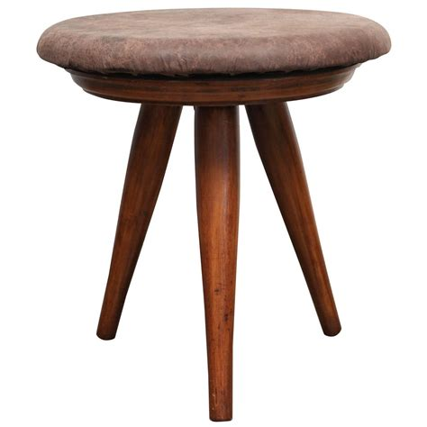 mid century modern tripod swivel stool with brown leather upholstery for sale at 1stdibs