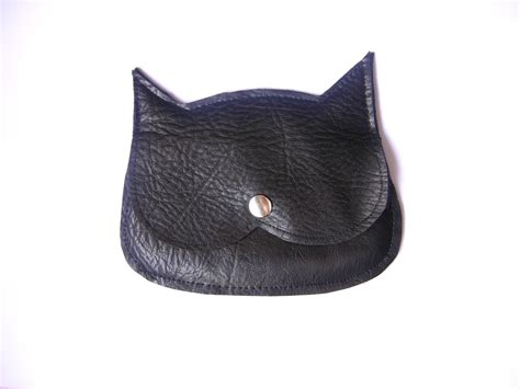 Cat Leather by Black Leather Cat Coin Purse Genuine Leather Synthetic